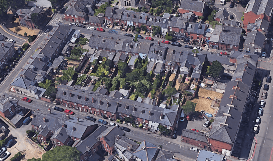 St John's Hill, St John's Road and St John's Street in Reading RG1, aerial view
