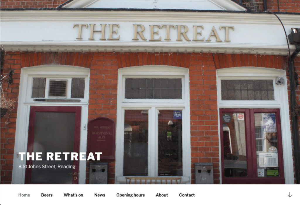 Screenshot of TheRetreat.pub website on 27 April 2019