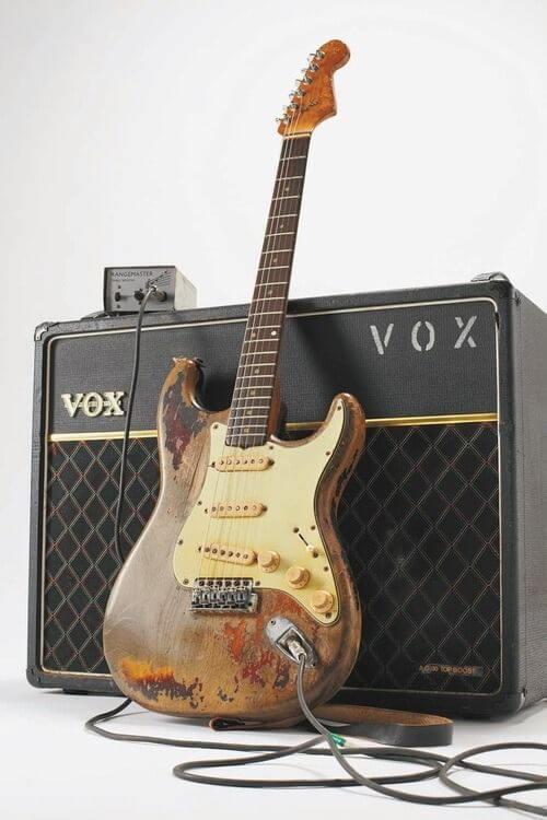Vintage Fender Stratocaster and Vox amp