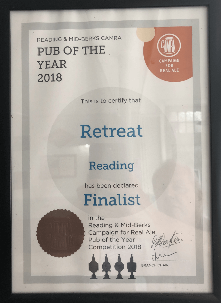 The Retreat CAMRA Pub of the Year finalist 2018