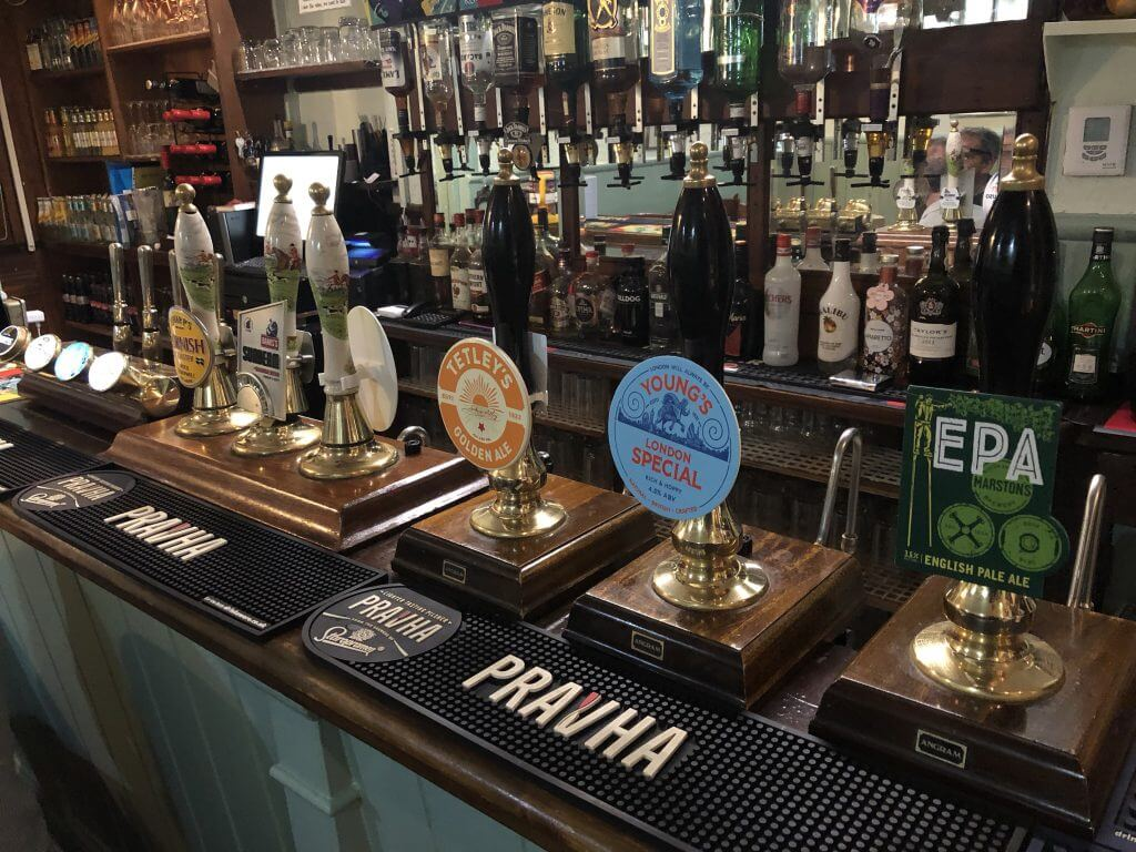 Beer pumps for real ale at The Retreat pub in Reading