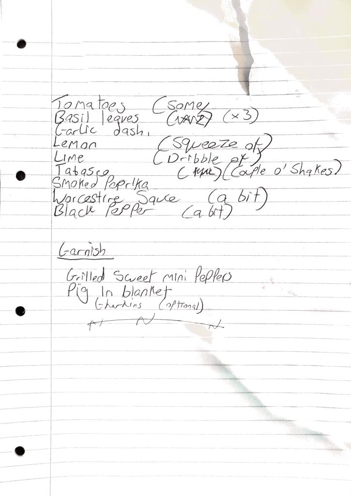 Luke Kendrick Bloody Mary ingredients