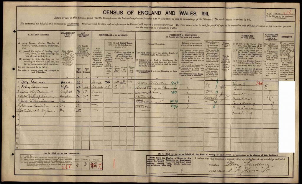8 St John's Street, Reading - 1911 Census