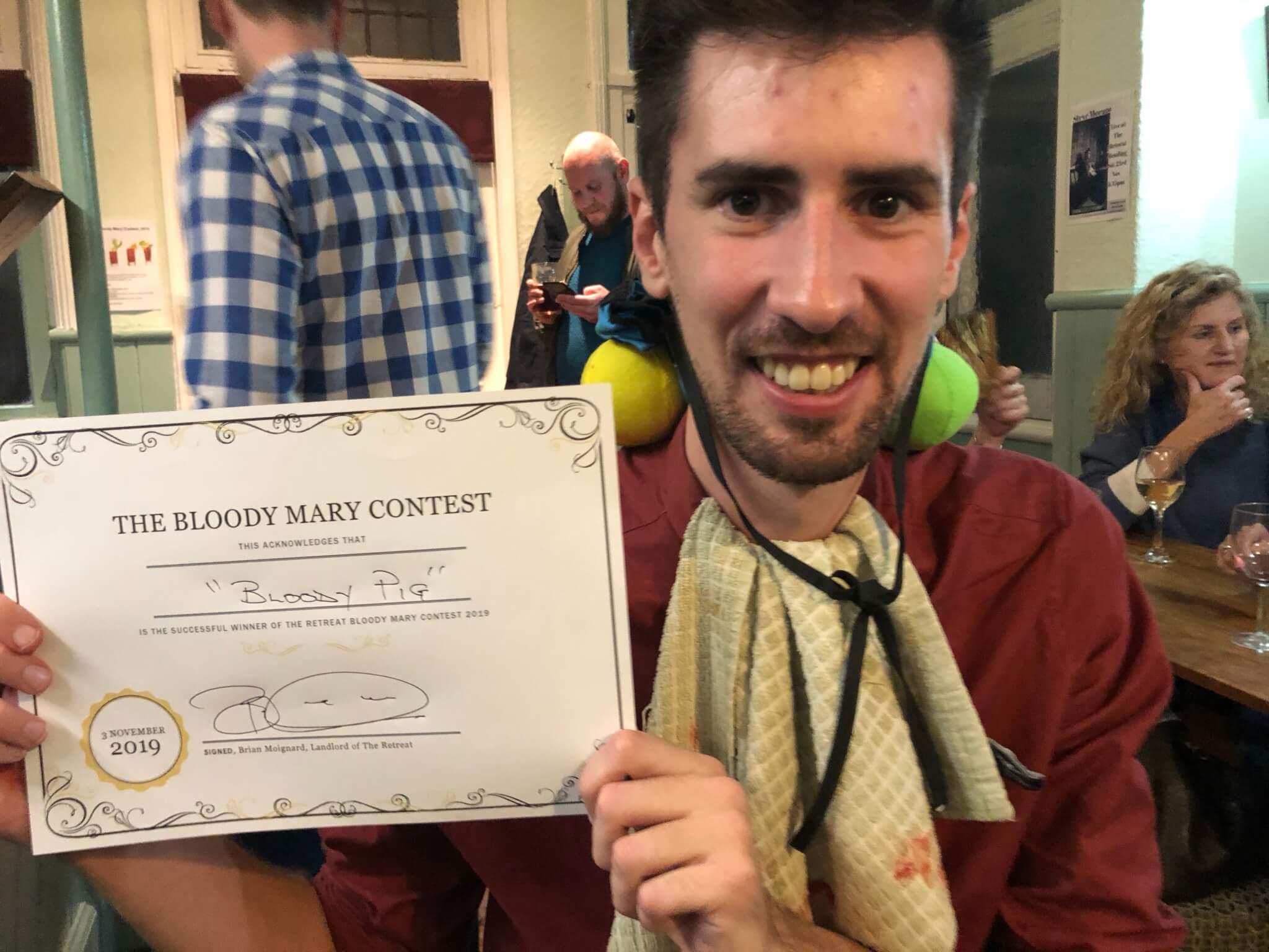 Luke Kendrick, the winner, The Retreat Bloody Mary Contest 2019